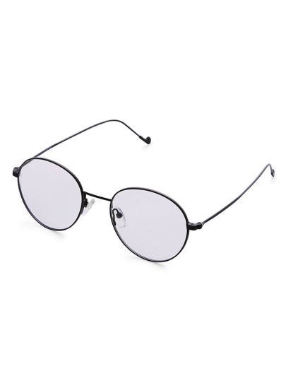 Black Frame Round Lens Retro Style Glasses