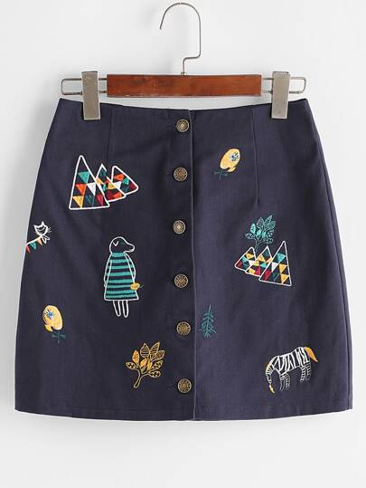 Navy Cartoon Embroidered Single Breasted Skirt