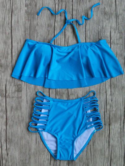 Set bikini con volantes y aberturas de cintura alta - azul