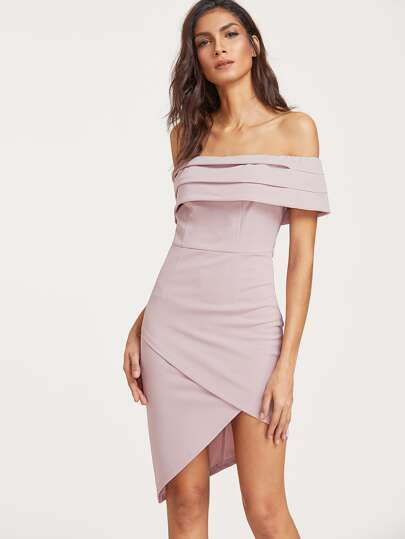 Fold Over Asymmetric Wrap Bardot Dress