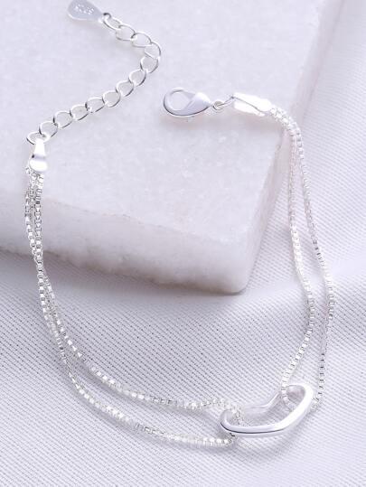 Silver Heart Charm Chain Bracelet