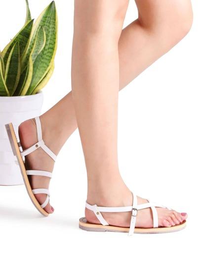 Sandalias planas con detalle de cruz - blanco