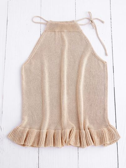 Frill Hem Knit Drawstring Halter Top