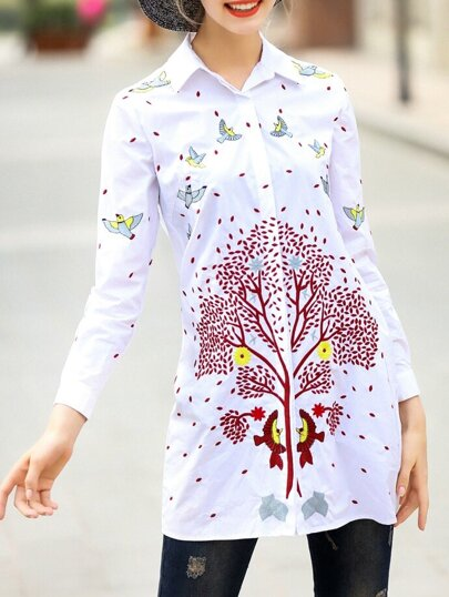 White Lapel Birds Embroidered Blouse