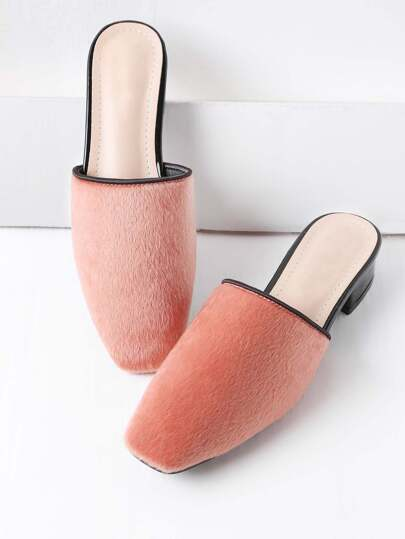 Pink Faux Fur Square Toe Heeled Slippers