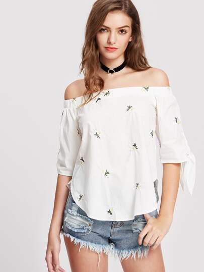 Bardot Tie Sleeve Daisy Embroidered Curved Top