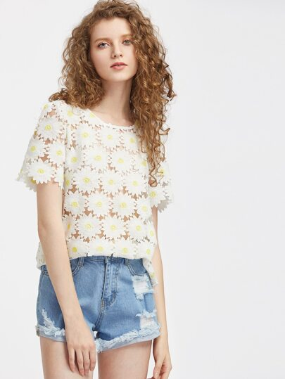 Hollow Out Daisy Lace Top