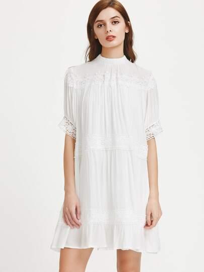 Mock Neck Lace Detailed Dress
