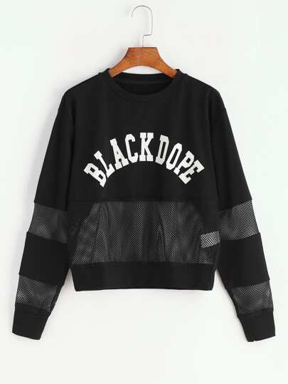 Black Letter Print Drop Shoulder Mesh Insert Sweatshirt