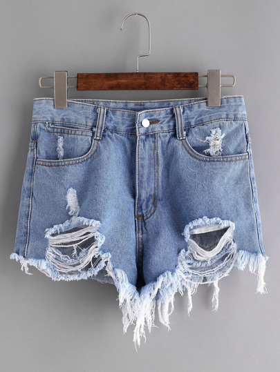 Short en denim bleu marine