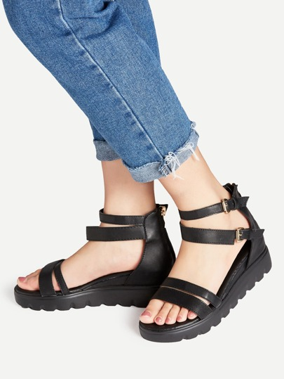 Black Strappy Zipper Back Flatform Sandals
