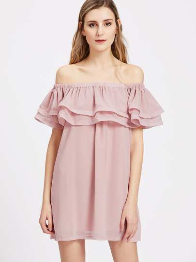 Layered Ruffle Bardot Neck Dress