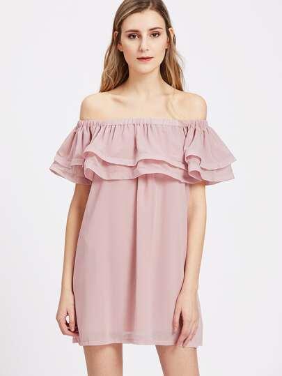 Vestido con hombros al descubierto con volantes - rosa