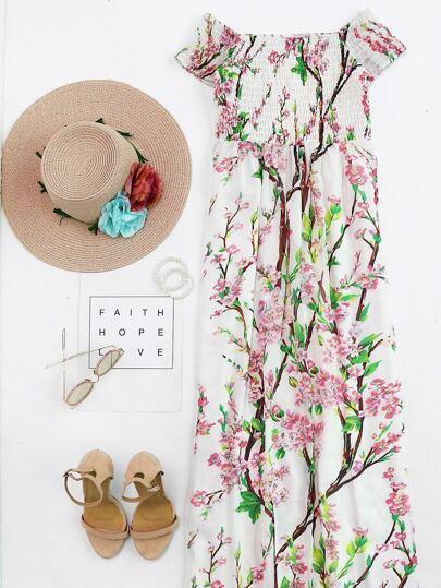 Blossom Print Off Shoulder Smocked Dress