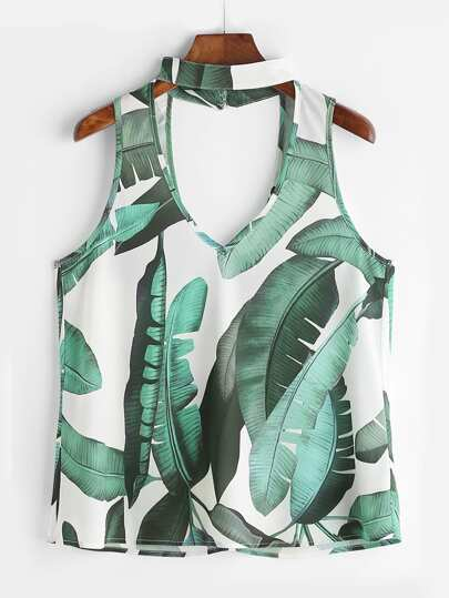 Tropical Print Double V Choker Neck Top