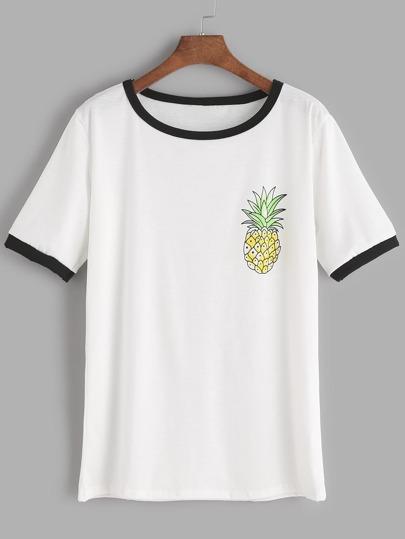 Camiseta ribete en contraste con estampado de piña - blanco