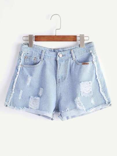 Light Blue Strappato Raw Hem Cuffed Shorts