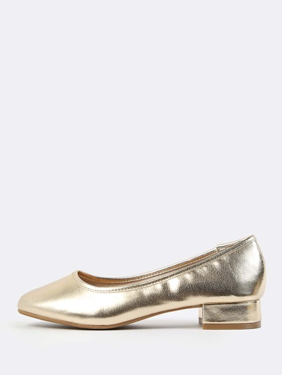 Metallic Ballet Kitten Heels GOLD