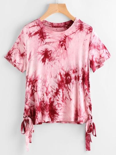 Burgundy Tie Dye Print Lace Up Side T-shirt