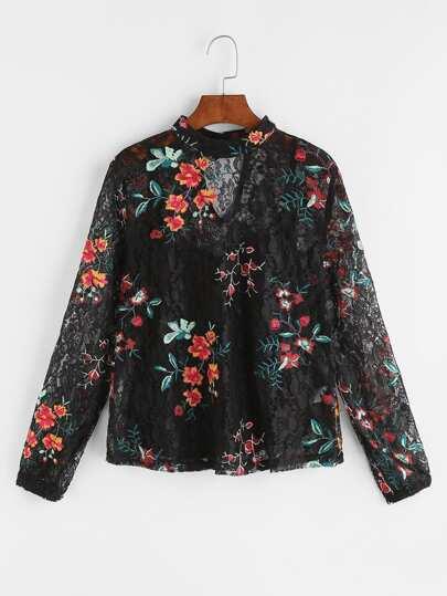 Top con bordado de flor con encaje con top con tirantes finos - negro