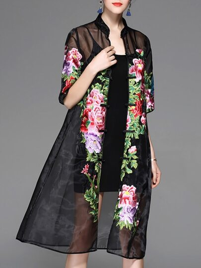 Black Sheer Flowers Embroidered Dress