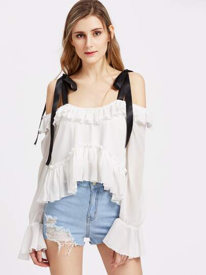 Tied Cold Shoulder Bell Sleeve High Low Ruffle Top