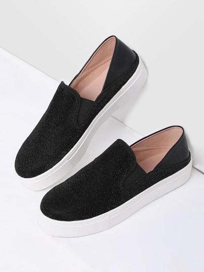 Nero punta rotonda glitter Flatform Sneakers
