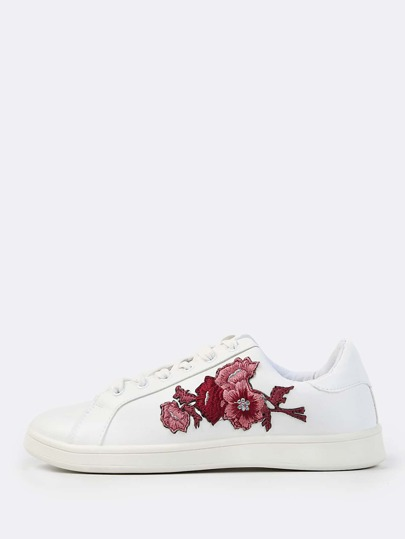 Embroidered Leather Sneakers WHITE