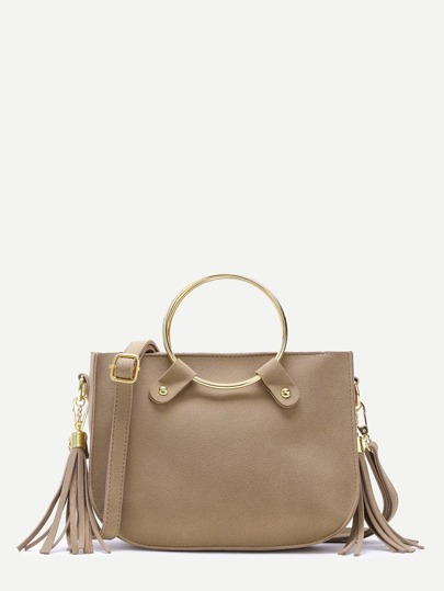 Khaki Metal Ring Tassel Trim Suede Shoulder Bag