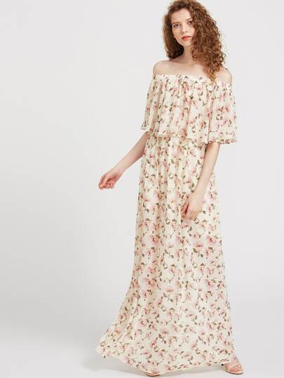 Floral Print Flounce Layered Neckline Dress