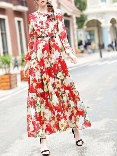 Multicolor Ruffle Belted Floral Maxi Dress