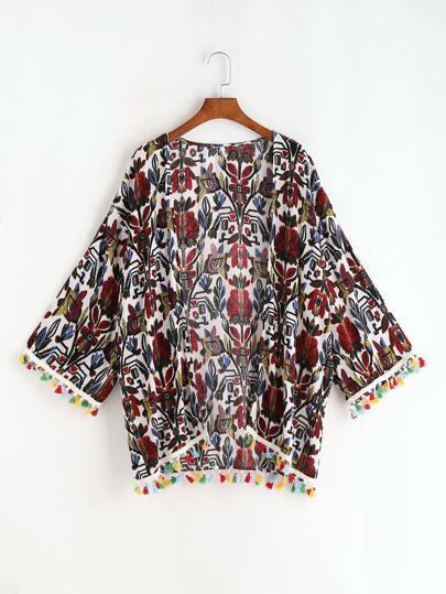 Kimono con estampado vintage y flecos - multicolor