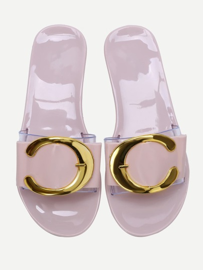 Sandalias planas con detalle transparente - rosa