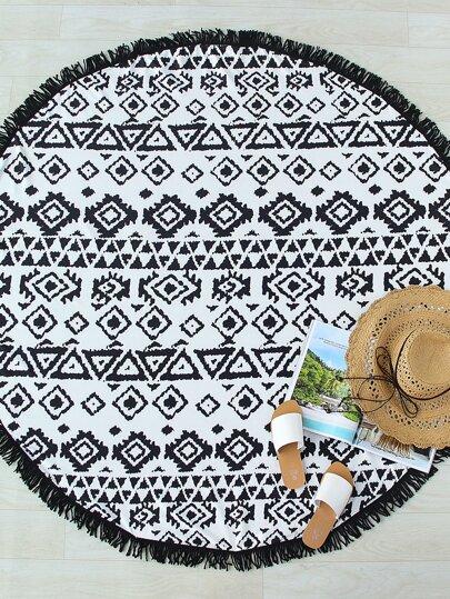 Black And White Geometric Print Fringe Trim Round Beach Blanket