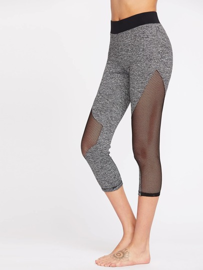 Marled Knit Contrast Waist Fishnet Insert Leggings