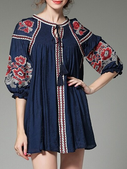 Navy Tie Neck Tribal Embroidered Shift Dress