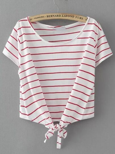 Striped Knot Detail T-shirt