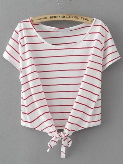 White Striped Knot Detail T-shirt