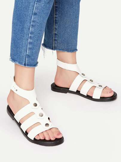 White Strappy Buckle Flat Sandals