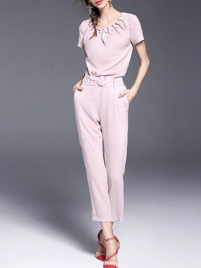 Pink Beading Belted Top With Pockets Pants