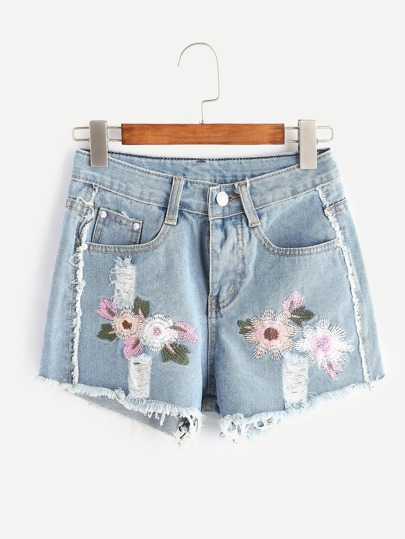 Shorts bleu clair brodé lacéré en denim