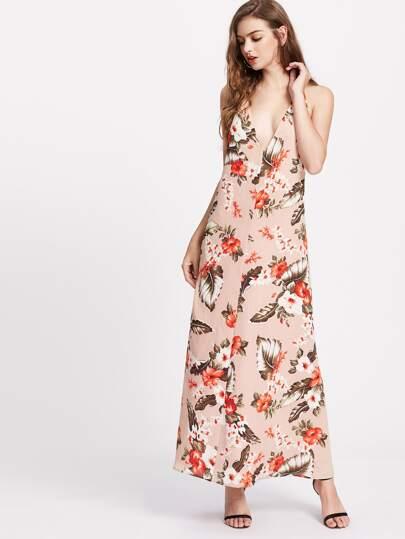 Tropical Print Backless Plunge Halter Dress