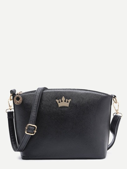 Black Crown Detail PU Shoulder Bag
