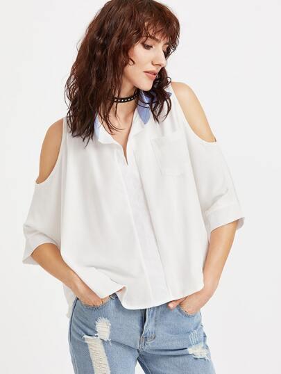 Weißer Kontrastkragen Offener Schulter Hoch Niedrige Bluse