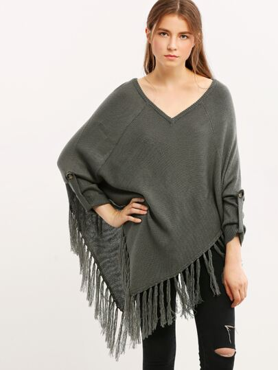 Grey Tassel Hem Roll Up Sleeve Sweater