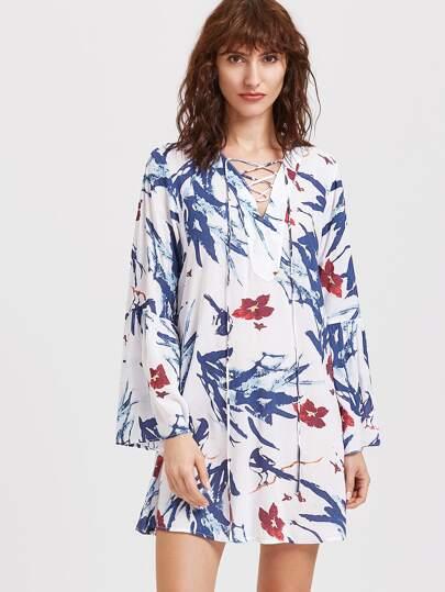 Vestido túnico escote V con cordón y estampado floral - multicolor