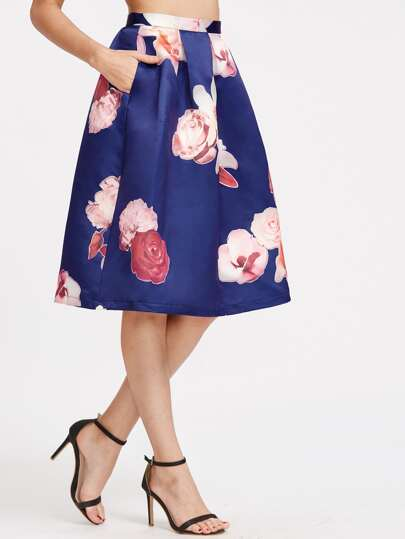 Royal Blue Rose Print Box Pleated Volume Skirt