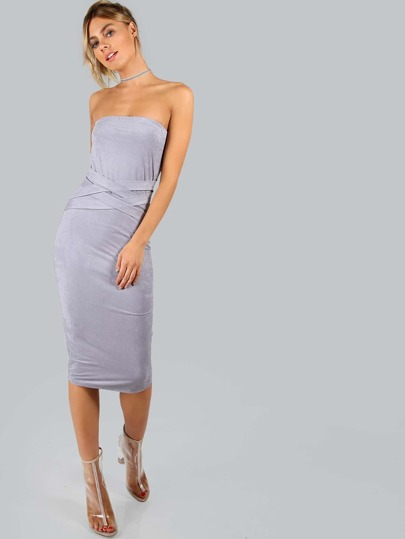 Strapless Suede Criss Cross Dress LAVENDER