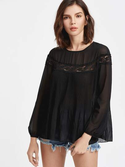 Lace Insert Bishop Sleeve Pleated Top