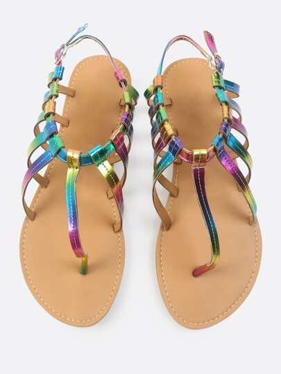 Colorful Caged Thong Sandal RAINBOW